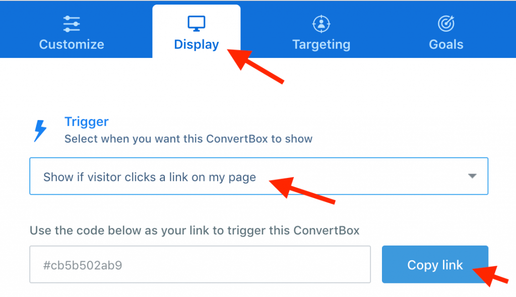 Trigger a ConvertBox from clicking a link – ConvertBox Help Desk